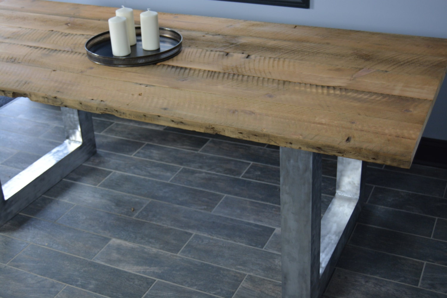 Kitchen Table Reclaimed Wood Rustic Farm Table With Brush Aluminum Legs Kitchen Table
