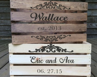 Rustic Wedding Crate, Personalized Wedding Crates, Rustic Wood Crate, Custom Wood Crate