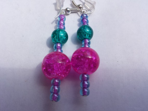 pink blue sparkly dangly earrings by piperlovespink on etsy