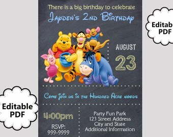 EDITABLE TEXT Winnie the Pooh Birthday Invitation -  Winnie the Pooh Party Invites - Winnie the Pooh Invite -Instant Download