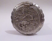Vintage sterling silver Saigon Dragon Compact solid silver compacts silver wedding gifts 25th anniversary