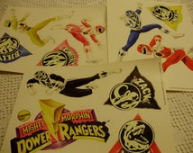 "MIP Vtg 1995 Power Rangers Repositionable Stickers 11 Pieces Glow in Dark 3"" - 7"" Saban Int'l Avon Promotion Action Figures Retro Nostalgia"