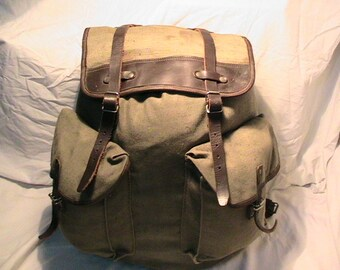 Vintage 1980's Military Green Canvas Backpack - Large Size - NEW