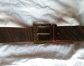 Vintage 1980's Brown Leather Belt