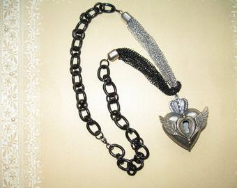 Art-I-Cake Mixed Media Heart Necklace