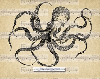 Vintage Retro Octopus, Antique  Octopus Image, Sea Life, Digital printable Art, Typography, Image for Iron, Papercrafts, Transfer, Pillows