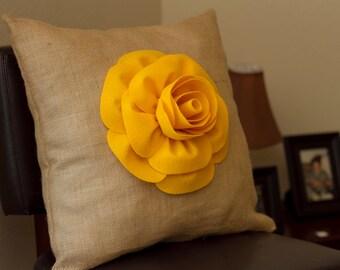 Flower Pillow, Burlap Pillow with Flower on Top, Decorative Pillow 18X18