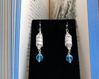 Alice's Adventures in Wonderland Recycled Book Page Earrings