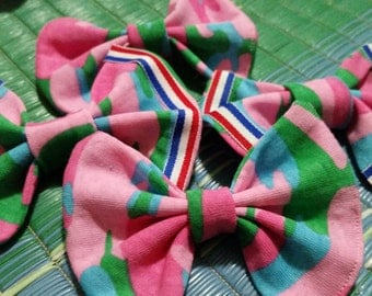 Pink Camouflage Hair Bow