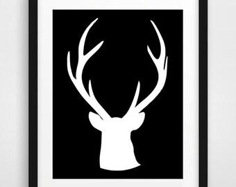 Deer wall art, deer head print, black and white prints, wall antlers, deer print, nursery wall art, deer wall decor, scandinavian art