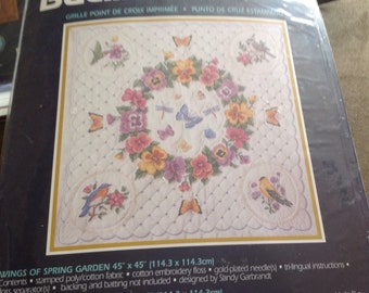 Vintage Plaid Bucilla 42748 Stamped Cross Stitch Kit Wings Of Spring Carden