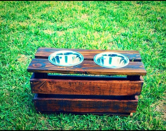 elevated raised reclaimed wood dog or cat food stand with stainless steel bowls dog bowl stand dog feeder cat feeder per feeder