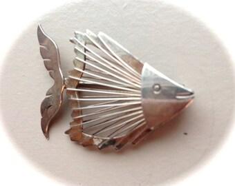Sterling Silver Fish Brooch