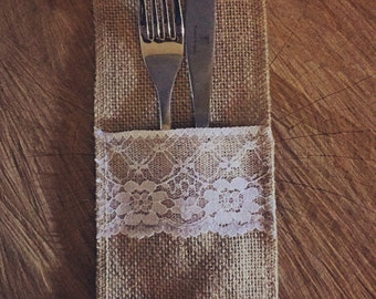 Hessian and lace cutlery holders (Bulk lot of 20), vintage wedding accessories