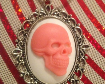 Black and Pink Skull Cameo Necklace