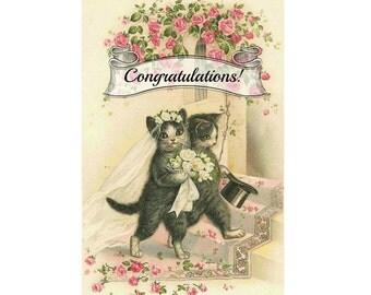 Wedding Cats. Wedding Card, Cat Card, Congratulations Card