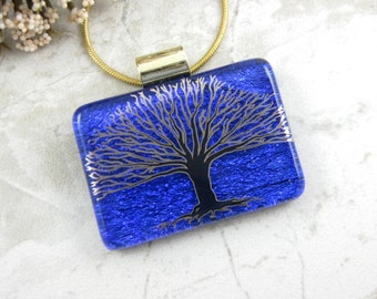Cobalt Blue Tree Necklace - Blue Fused Glass Tree of Life Pendant - Glass Tree Necklace