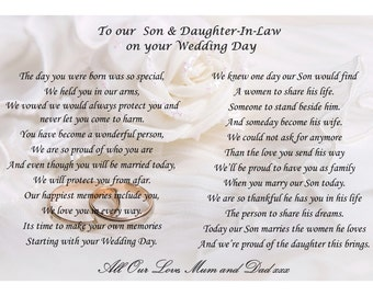 To Our/my Son and Daughter-in-law on your wedding day