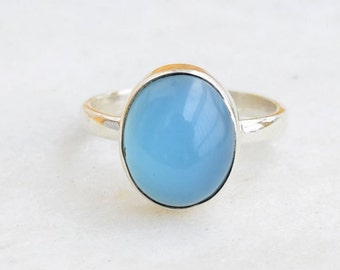 Chalcedony Stone Ring, Silver Ring, Stone Ring, Chalcedony Stone, 92.5 Sterling Silver, Blue Chalcedony Silver Ring, Size US 5 6 7 8 9 10
