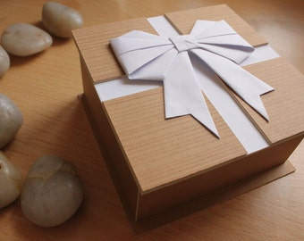 Presentation Gift Box with White Origami Bow Decoration by DPJ Designs