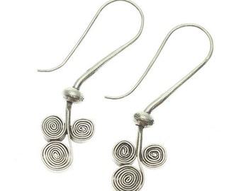 Three Scroll Swirl Sterling Silver Earrings (TSSE10)
