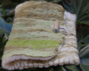 Handmade felted woollen wallet with wooden toggle clasp