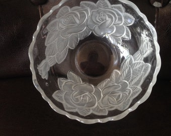 4 Rose Bowls, Frosted Glass