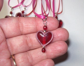 Heart Red heart ribbon necklace was 5.00 now 2.50 Valentine