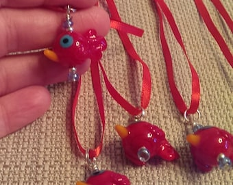 Red bird pendant ribbon necklace was 5.00 now 2.50