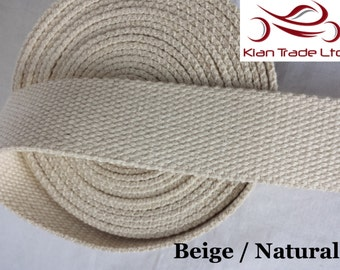 Cotton Heavy Canvas webbing in 38 mm 1.5 Inch width for hand bag belting Tapes-Beige / Natural  color