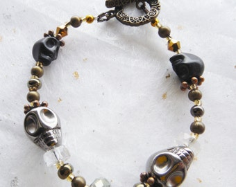 Skull Bracelet - Black, Gold and Silver