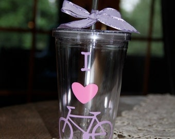I Love Bicycling Vinyl Cup