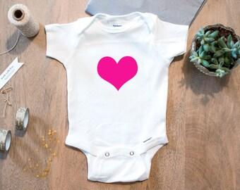 Hot Pink Heart // Cotton Baby Onesie