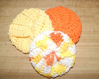 Cotton Crochet Pot Scrubbers- Set of Three, Sunburst