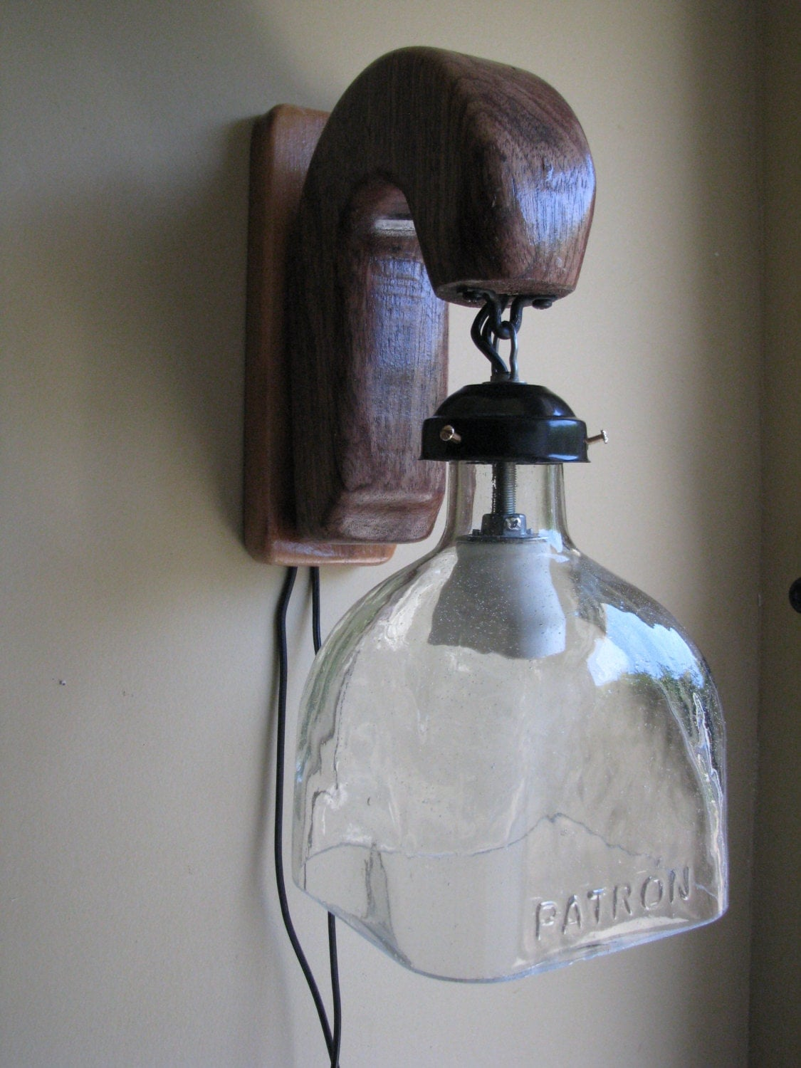 Upcycled patron tequila bottle sconce upcycled lightingbar for Things to make out of liquor bottles