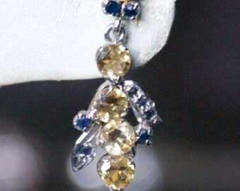 Magificent Yellow Topaz, Blue Sapphire Silver Earrings