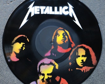 Artistic version of Metallica, vinyl record spray paint handmade decoration clock