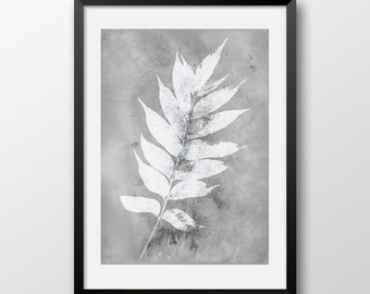 Gray Watercolor Leaf, Leaf Wall print, Black and white home decor, Watercolor poster print, Printable Watercolor art 097