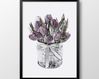 Pencil Drawing Tulips Print, Printable drawing, Hand drawn Tulips, Flowers Home decor,Tulips Wall art print 105