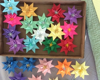 Multicolor German origami Paper Stars, decorations,  extra large with metallic snowflakes in the center