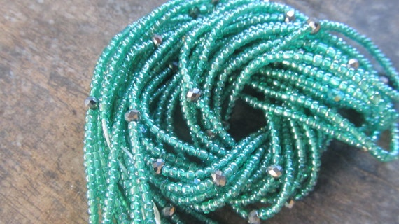 Green colors custom made waist beads with crystals stranded on beading wire, Fair Trade