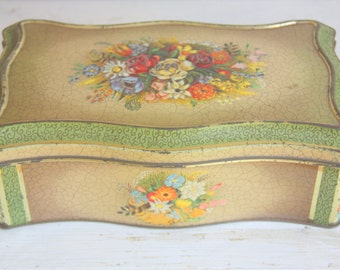Lovely Vintage Large Tin Cookie Box, Textured Flower Pattern