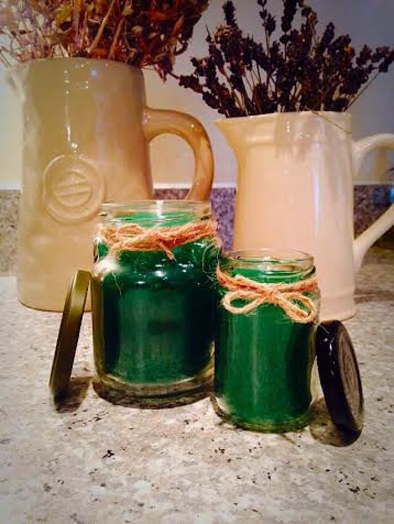 Forest green set of two container candles with a forest scent
