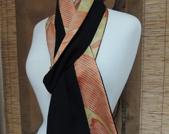 Long Reversible Japanese Silk Scarf | Black Chirimen and Orange/Yellow Floral | Recycled