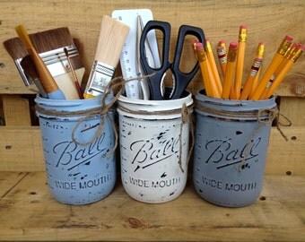 Painted Mason Jar. Vase. Distressed. Home Decor. Workshop Decor. Supply Holder.