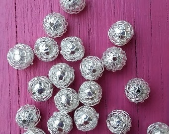 Silver Plated Net 8 mm Beads Jewelry Findings Beading