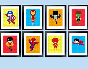 Superhero  Set of 8 Wall Art Digital,Super Hero Bedroom Nursery Art, Superhero Party Printable 8x10 Instant Download
