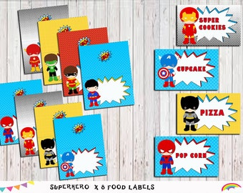 Superhero Food Labels, Superhero Food Tent Blank Labels Party, Superhero Party Printable File,  Instant Download