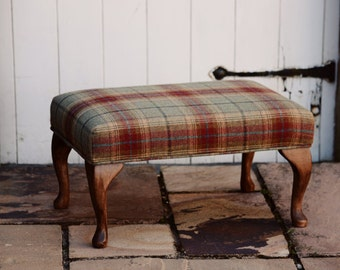Large Upholstered Footstool - Hand Carved Queen Anne Legs - Balmoral Plaid Jalapeno Fabric