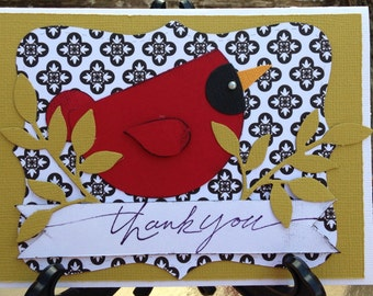 Handmade thank you card- thank you card- grateful- bird card-thank you-